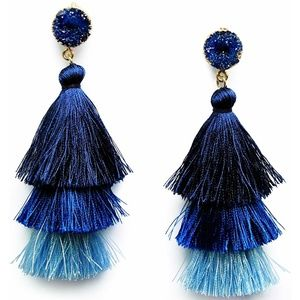 Jewelry - Colorful Layered Druzy Drop Tiered Tassel Earrings